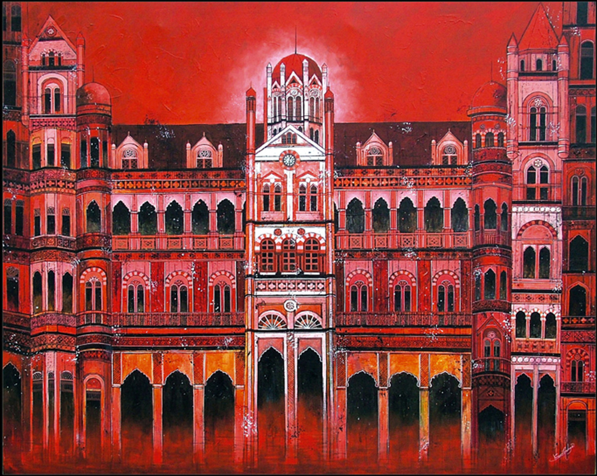 CST - Chhatrapati Shivaji Terminus by Suresh Gulage, Art Deco Painting, Acrylic on Canvas, Brown color