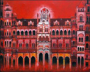 CST - Chhatrapati Shivaji Terminus - Painting by Suresh Gulage