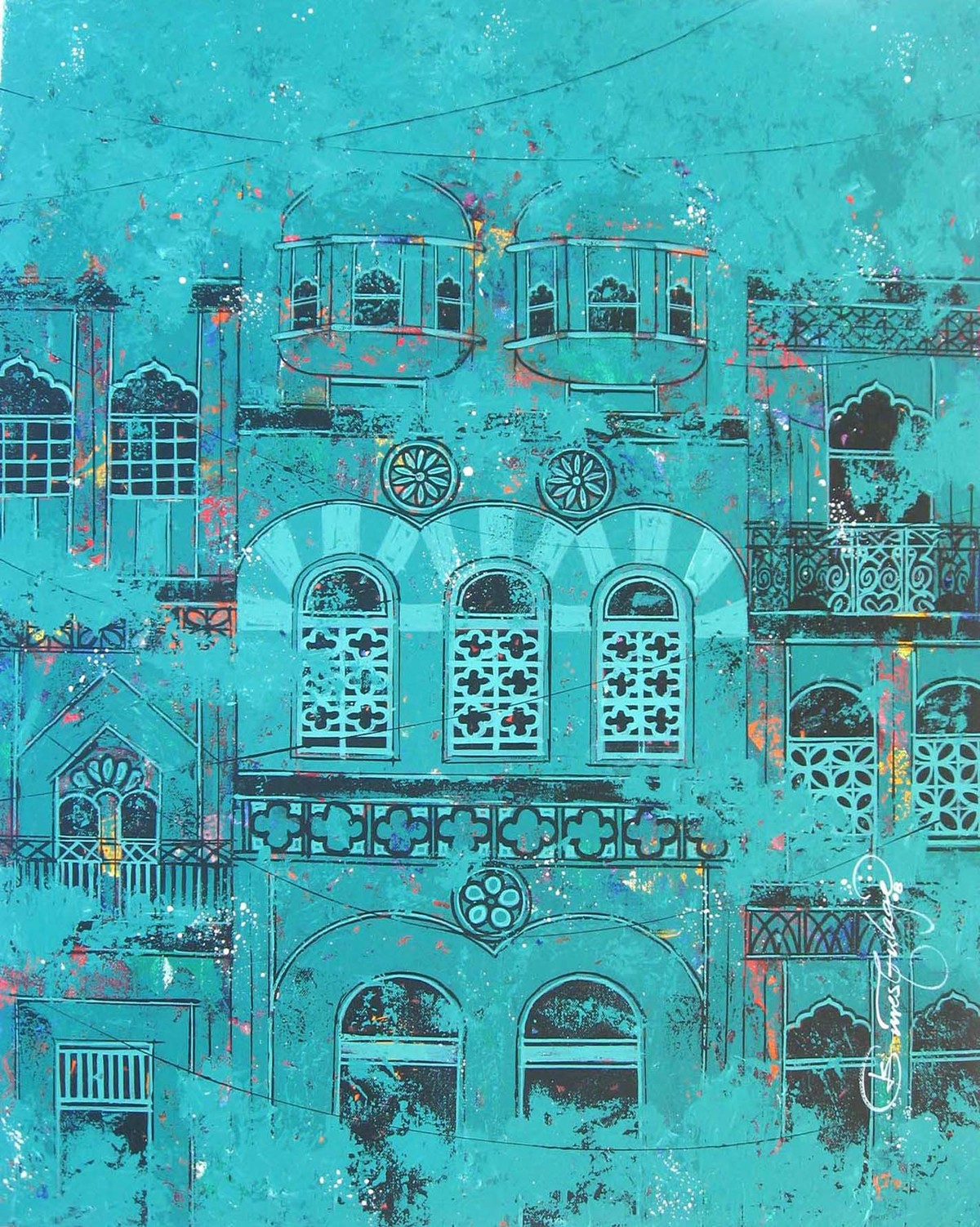 Window - 206 by Suresh Gulage, Art Deco Painting, Acrylic on Canvas, Cyan color