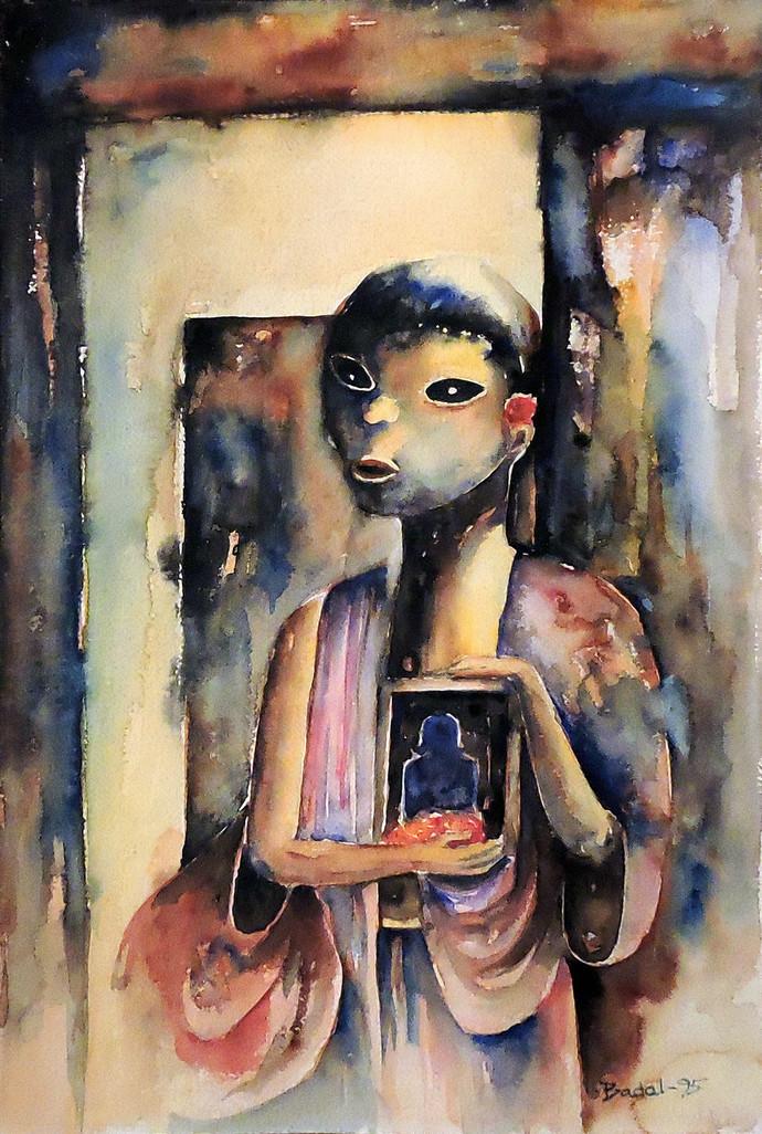 Shani Thakur (The Saturn God) by Badal Majumdar, Impressionism Painting, Watercolor on Paper, Brown color