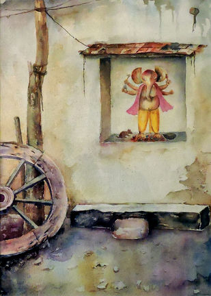 Village Deity-3 by Badal Majumdar, Impressionism Painting, Watercolor on Paper, Beige color