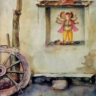 Village Deity-3 by Badal Majumdar, Impressionism Painting, Watercolor on Paper, Beige color