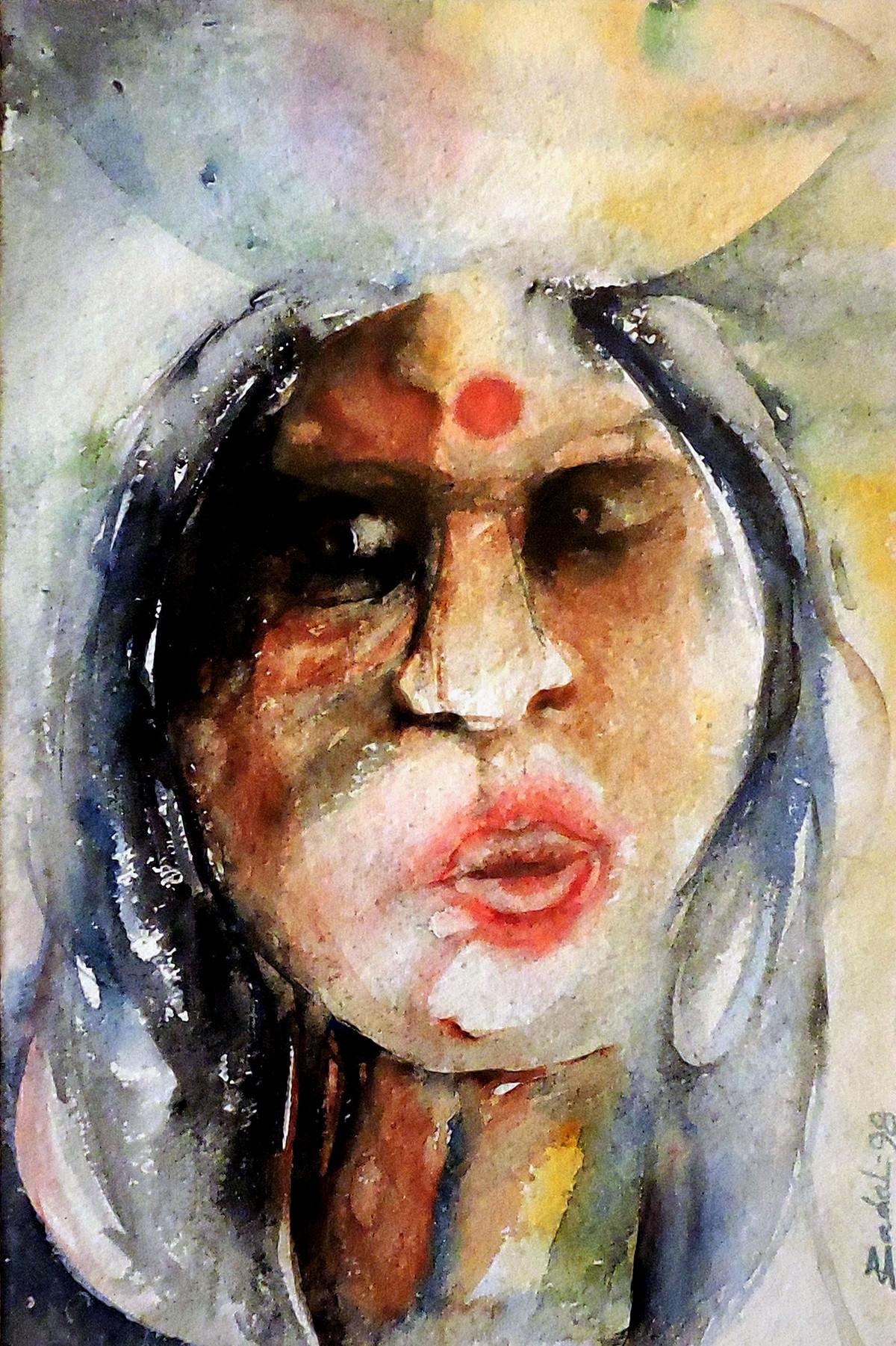 Jayamma by Badal Majumdar, Decorative Painting, Watercolor on Board, Beige color