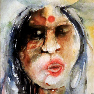 Jayamma by Badal Majumdar, Decorative Painting, Watercolor on Board, Beige color