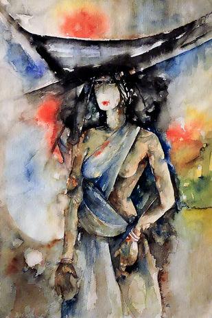 On The Way - Painting by Badal Majumdar