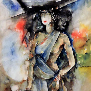 On The Way by Badal Majumdar, Decorative Painting, Watercolor on Paper, Brown color