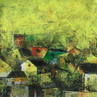 Village of my Dreams_14 - Painting by M Singh
