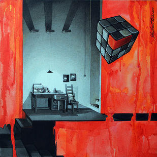 Life Corner 09_14 by Shrikant Kolhe, Painting, Acrylic on Canvas, Red color