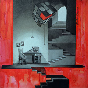 LifeCorner10_14 by Shrikant Kolhe, Conceptual Painting, Acrylic on Canvas, Red color