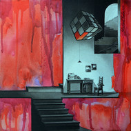 Life Corner 11_14 by Shrikant Kolhe, Painting, Acrylic on Canvas, Red color