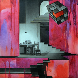 LifeCorner13_14 by Shrikant Kolhe, Painting, Acrylic on Canvas, Purple color