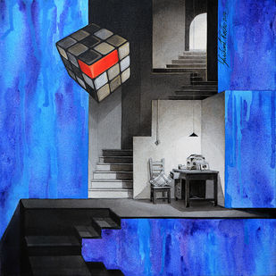LifeCorner15_14 by Shrikant Kolhe, Abstract, Conceptual Painting, Acrylic on Canvas, Blue color