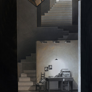 LifeCorner 02-15 by Shrikant Kolhe, Painting, Acrylic on Canvas, Gray color
