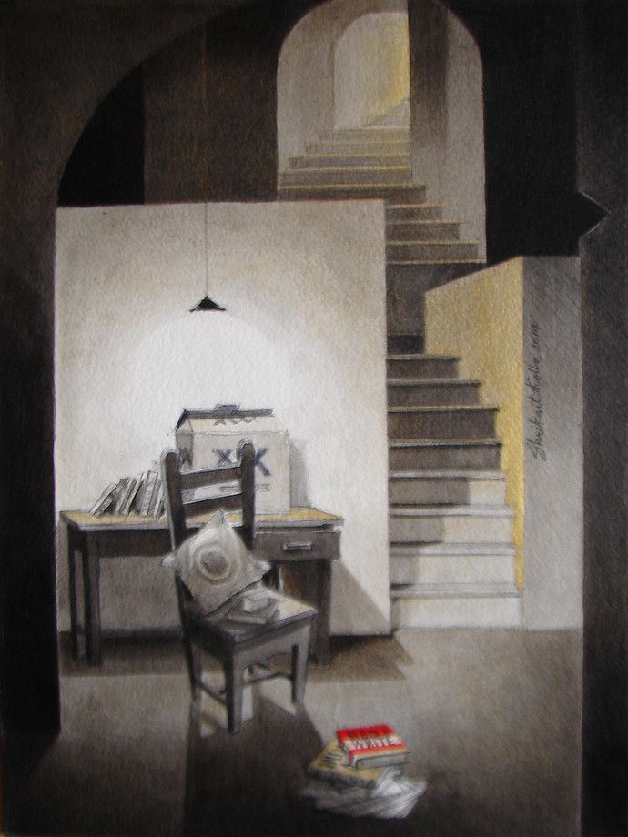 Life Corner 03_14 by Shrikant Kolhe, Painting, Acrylic on Paper, Gray color