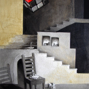 LifeCorner04_14 by Shrikant Kolhe, Painting, Acrylic on Paper, Gray color