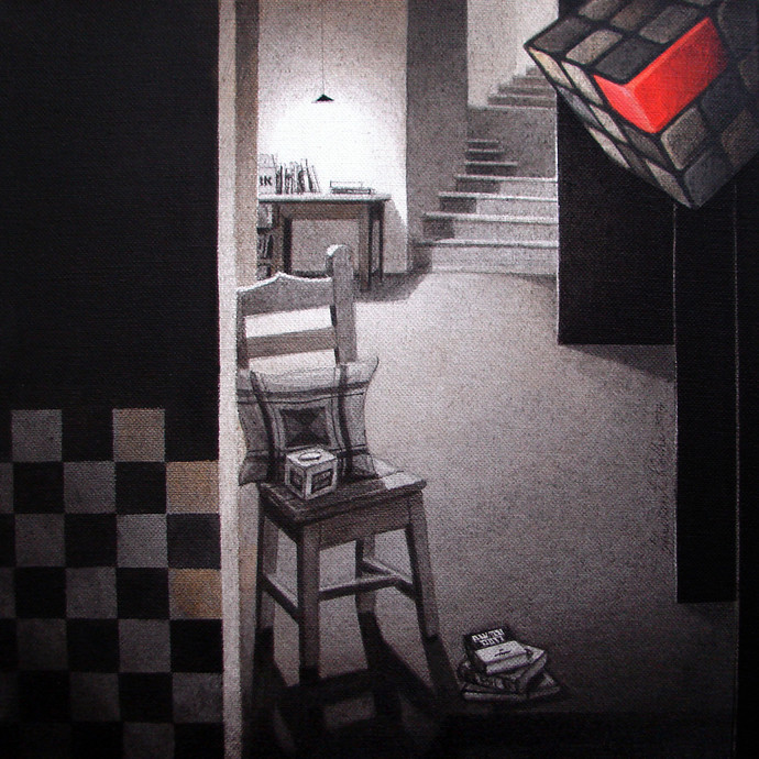 LifeCorner06_14 by Shrikant Kolhe, Realism Painting, Acrylic on Canvas, Gray color