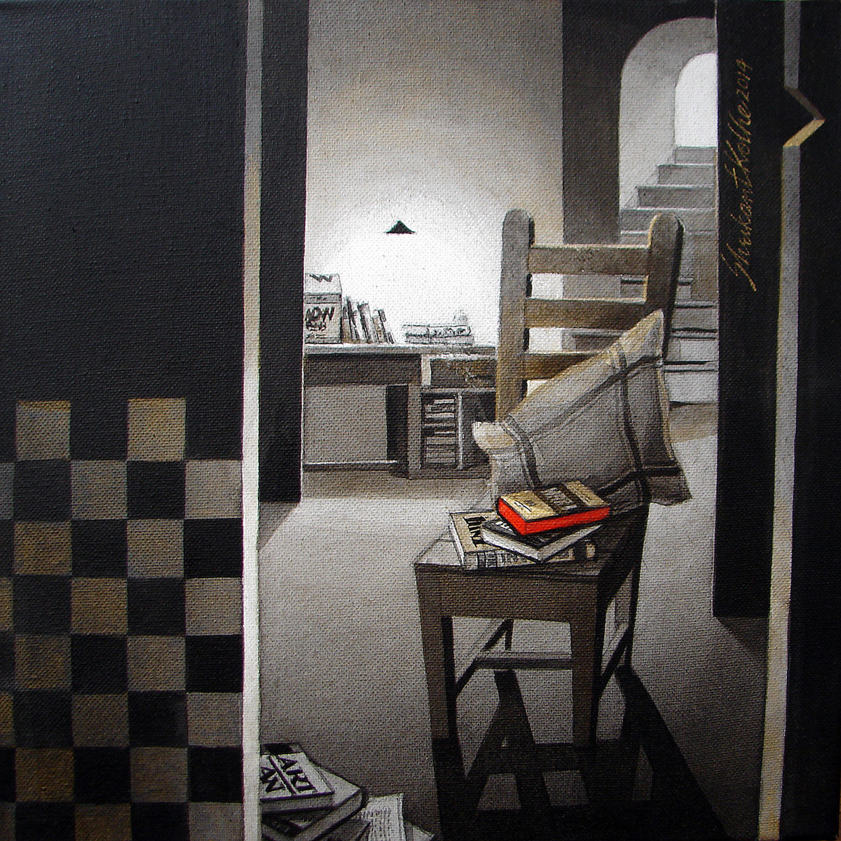 LifeCorner07_14 by Shrikant Kolhe, Conceptual Painting, Acrylic on Canvas, Gray color