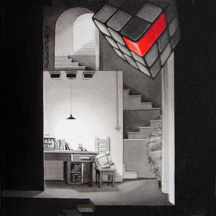 LifeCorner25_13 by Shrikant Kolhe, Realism Painting, Acrylic on Canvas, Gray color