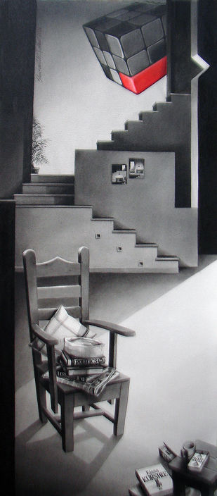 Life Corner 03_13 by Shrikant Kolhe, Realism Painting, Acrylic on Paper, Gray color