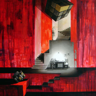 LifeCorner13_12 by Shrikant Kolhe, Conceptual Painting, Acrylic on Canvas, Red color
