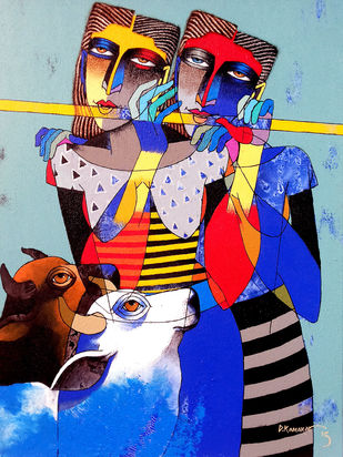 Cows and Girls by Dayanand Kamakar, Decorative Painting, Acrylic on Canvas, Blue color