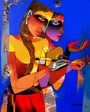 Violin sellers 23 - Painting by Dayanand Kamakar