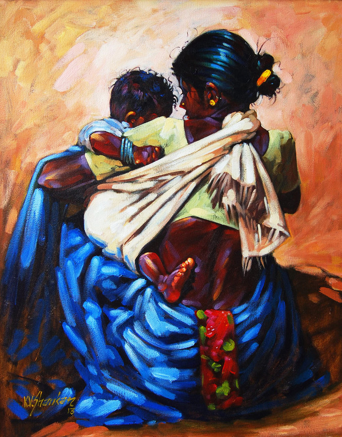 Mother & Child by K V Shankar, , , Brown color