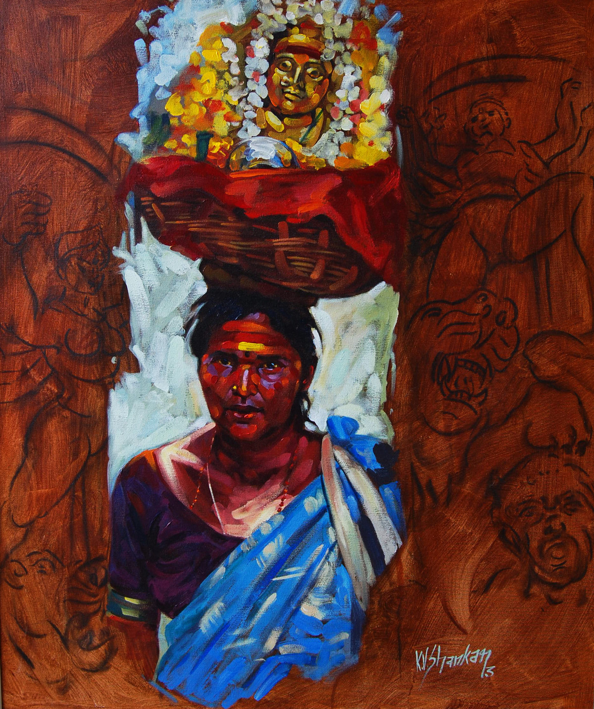 Devotee by K V Shankar, Impressionism Painting, Acrylic on Canvas, Brown color