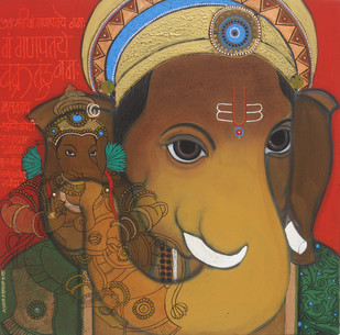 Lord Ganesha by Ashok Rathod, Painting, Acrylic on Canvas, Brown color