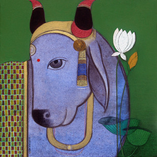 Lord krishna's Cow with lotus by Ashok Rathod, , , Green color
