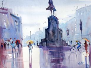 Yellow umbrella - Painting by Ravhi Songirkaar