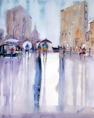 Reflection lll - Painting by Ravhi Songirkaar