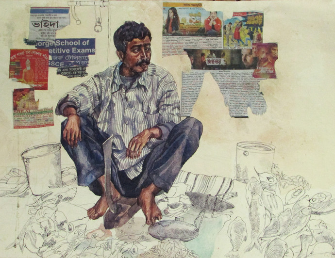 The Fish seller by Rumka Dutta, Painting, Mixed Media on Paper, Beige color