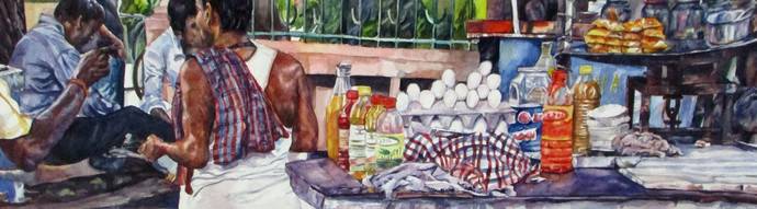 Life in a metro (i) by Rumka Dutta, Painting, Watercolor on Paper, Brown color