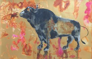Temptation by Sayam Bharath yadav, Conceptual Painting, Acrylic on Paper, Brown color