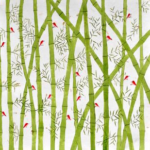 Birds and Bamboo - Painting by Sumit Mehndiratta
