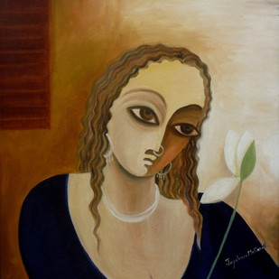 Mood 04 by Jayshree P Malimath, Traditional Painting, Acrylic on Canvas, Brown color