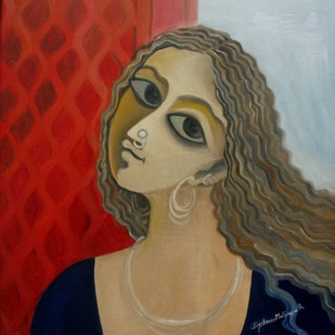 Mood 06 by Jayshree P Malimath, Traditional Painting, Acrylic on Canvas, Brown color