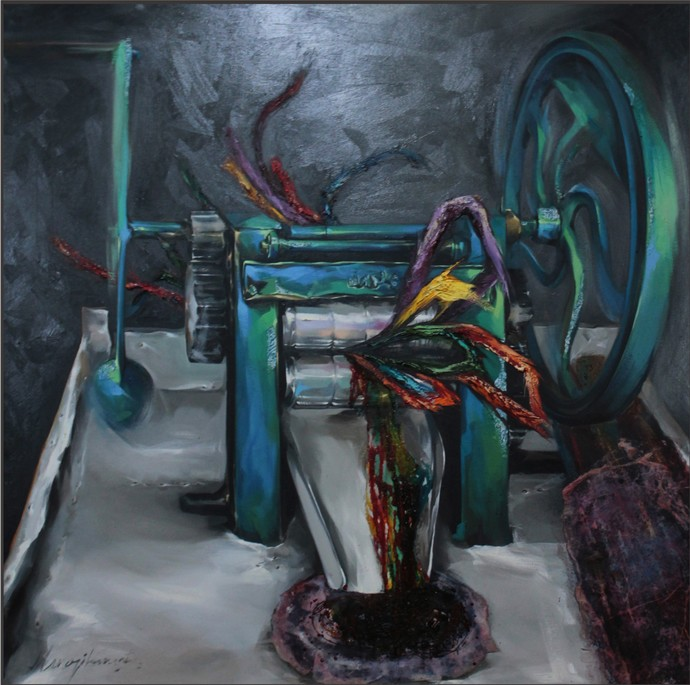 Cocktail by Manojit Samanta, Conceptual Painting, Mixed Media on Canvas, Green color