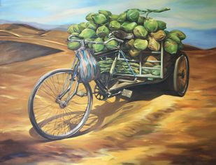 Thirsty Desert by Manojit Samanta, Conceptual Painting, Oil on Canvas, Brown color