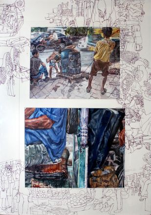 Life in a metro (ii) by Rumka Dutta, Painting, Watercolor & Ink on Paper, Gray color