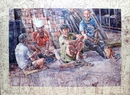 Labors in Leisure by Rumka Dutta, Conceptual Painting, Watercolor & Ink on Paper, Brown color