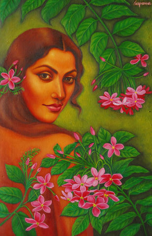 Madhabilata by Suparna Dey, Realism Painting, Oil on Canvas, Green color