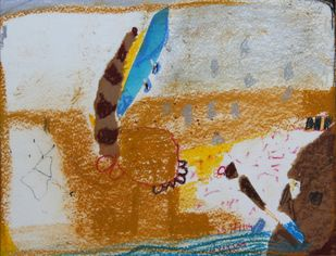 Untitled M2 by Rajani Dhanewar, Naive Painting, Mixed Media on Paper, Brown color