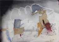 Untitle M12 by Rajani Dhanewar, Naive Painting, Mixed Media on Paper, Gray color
