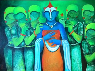 Marriage Ceremony 2 by anupam pal, Decorative Painting, Acrylic on Canvas, Green color