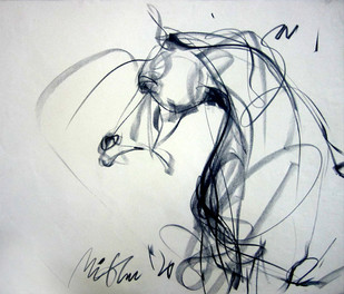 Motion of Lines by Mithun Dutta, Illustration Drawing, Charcoal on Paper, Gray color