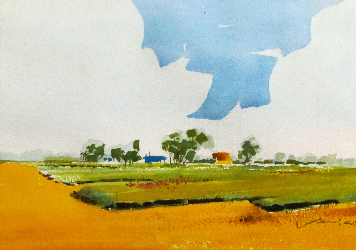 Untitled by Rajendra Pasalkar, Impressionism Painting, Watercolor on Paper, Gray color