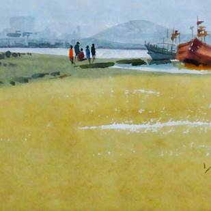 Untitled by Rajendra Pasalkar, Impressionism Painting, Watercolor on Paper, Beige color