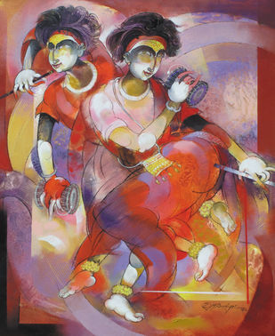 The Folk Dancers - Two Goravas by Devendra.M.Badiger, Decorative Painting, Acrylic on Canvas, Brown color